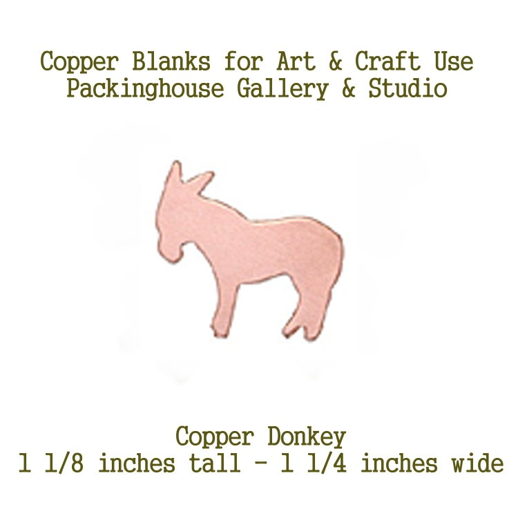 Donkey, Copper Blank Shape cut outs made of copper for metal working, enameling and jewerly making, general crafting for metalsmiths
